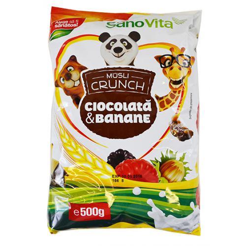 Musli crunch banane si ciocolata 500 g SanoVita