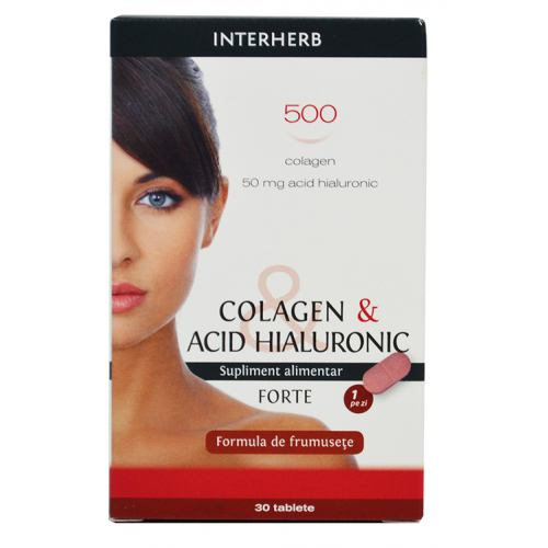 Colagen & Acid Hialuronic Forte 30 tablete Interherb