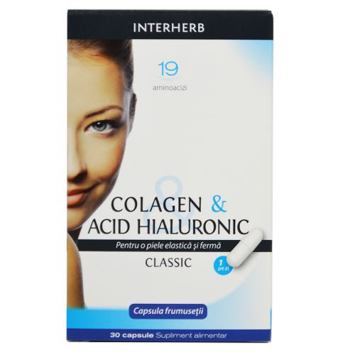 Colagen & Acid Hialuronic 30 tablete Interherb