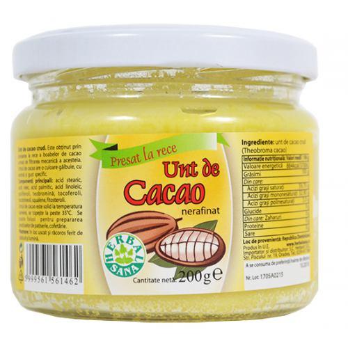 Unt de cacao nerafinat crud 200G HERBAVIT