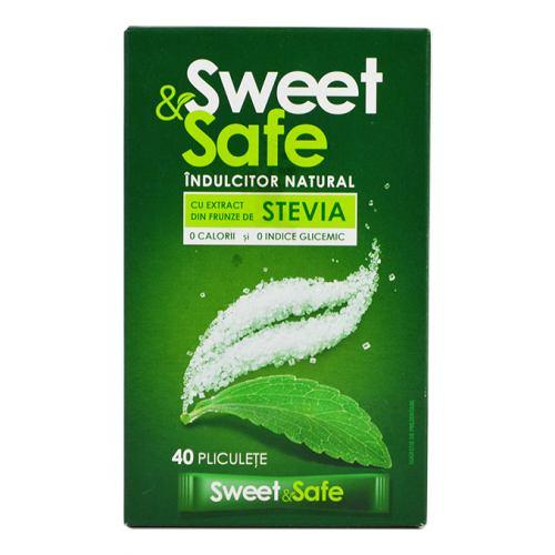 Indulcitor Natural din Stevia 40 plicuri Sweet & Safe
