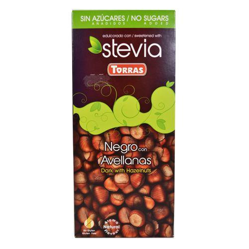 Ciocolata neagra cu stevia si alune 125G TORRAS