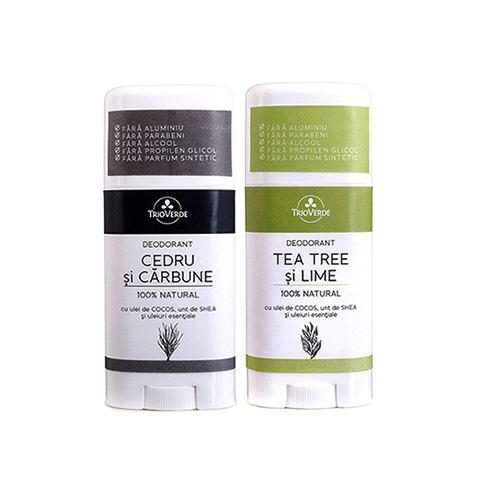 Pachet deodorant Cedru si Carbune +Tea Tree si Lime CADOU TRIO VERDE