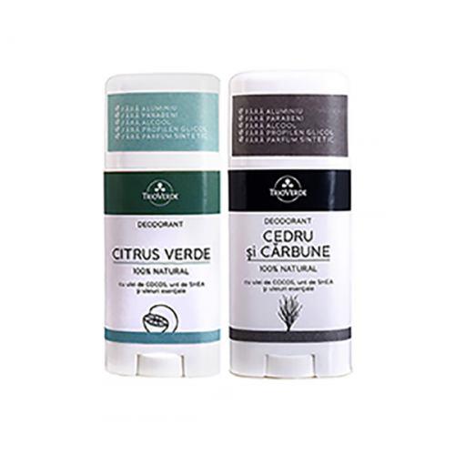 Pachet deodorant Cedru si Carbune + Citrus Verde CADOU TRIO VERDE