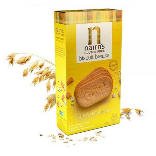 Biscuiti fara gluten din ovaz integral si ghimbir 160G NAIRN'S