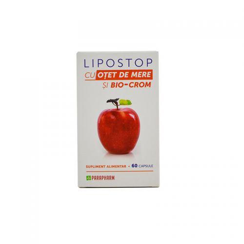 Lipostop cu otet de mere si bio-crom 2 CUTII + 1 GRATIS 60CPS PARAPHARM