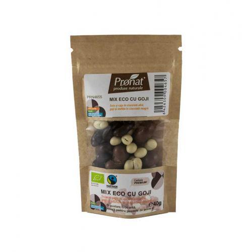 Mix bio cu goji, seminte si fructe trase in ciocolata 40G PRONAT