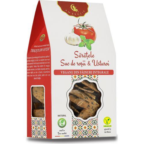 Crackers Vegani cu Rosii si Usturoi 125 g HIPER AMBROZIA